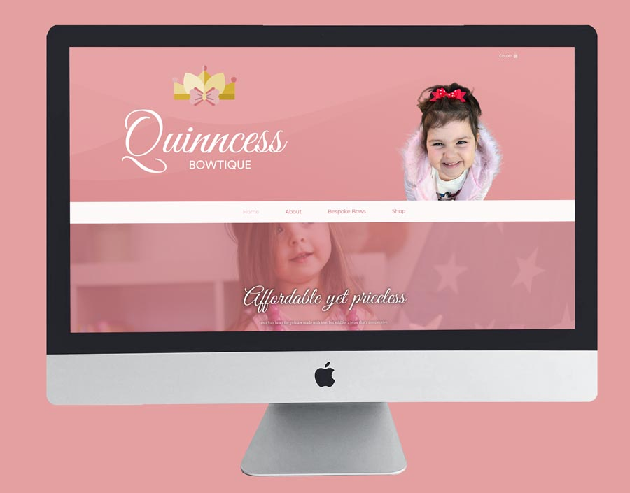 Quinncess bowtique web design branding