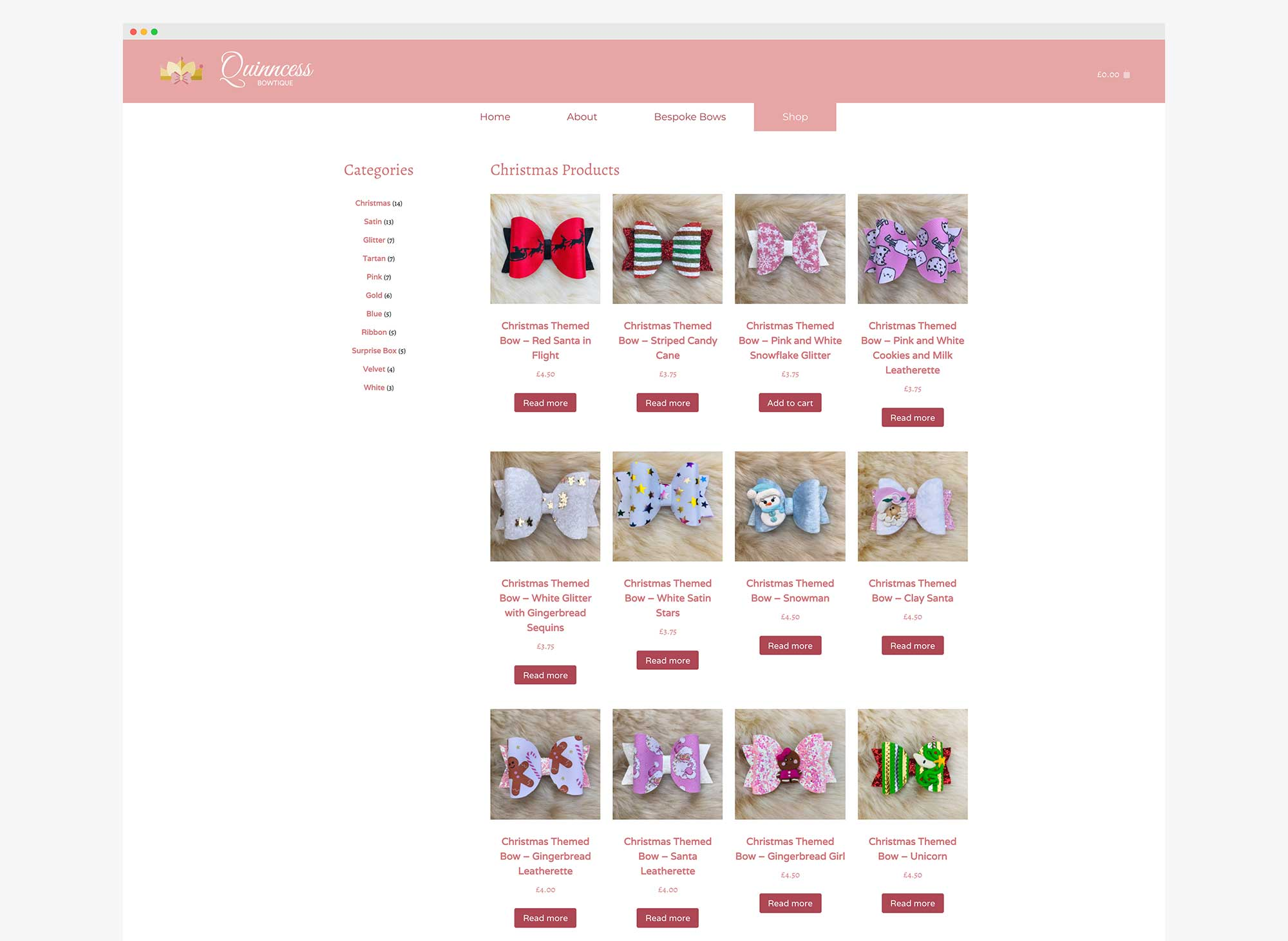 Quinncess Bowtique Ecommerce Web Design and Branding Project