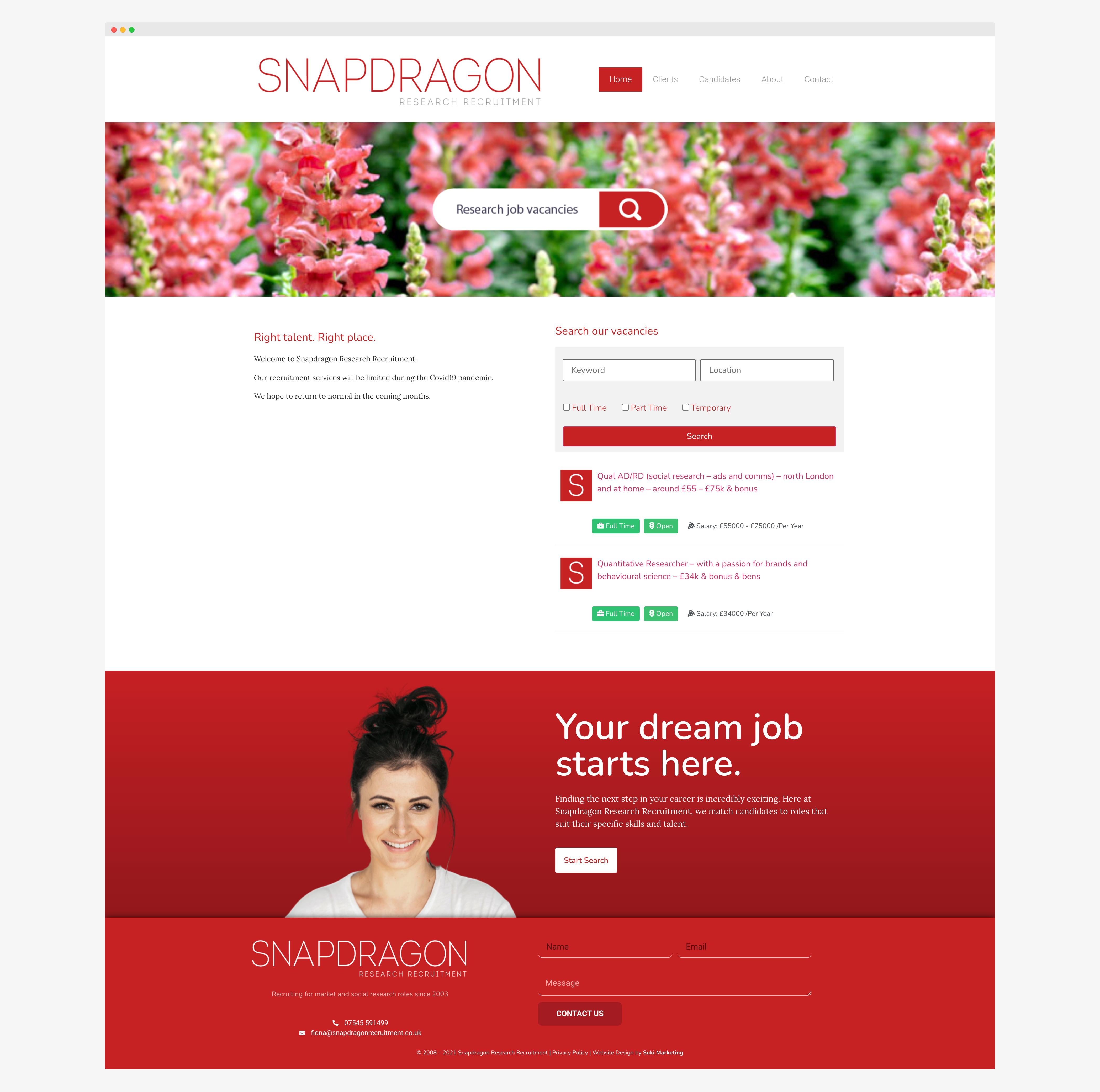 Snapdragon Research Recruitment Web Design