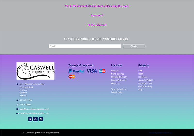 Caswell Equine Supplies Web Design and SEO